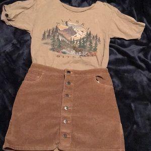 Express button up corduroy skirt